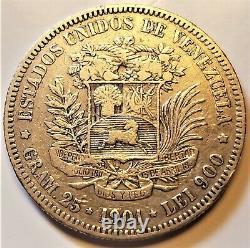 1901 Venezuela 5 Bolivares Very Fine+ Argent Pièce Rare 90 000 Minted