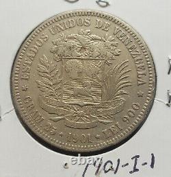 1901 Venezuela 5 Bolivariennes Gram 25 Pièces D'argent