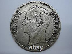 1901 Venezuela 5 Bolivars Libertador Argent