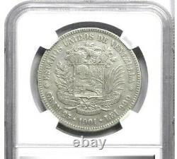 1901 Venezuela 5 Bolivars, Ngc Vf Détails Nettoyé, Km Y24.2, Date Très Effrayante