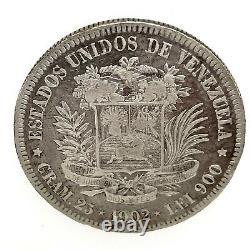 1902 Venezuela 5 Bolivares (25 Gram). 900 Pièce D'argent #1 Y#24.2
