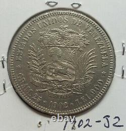 1902 Venezuela 5 Bolivares 25 Gran Silver Coins
