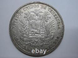 1902 Venezuela 5 Bolivares Libertador Argent