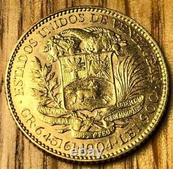 1904 Venezuela 20 Bolivares Oro Mint State Ms Uncirculated Simon Bolivar