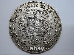 1904 Venezuela 5 Bolivares Libertador Argent