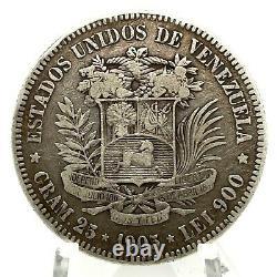 1905 Venezuela 5 Bolivares (25 Grammes). Pièce D'argent 900 #2 Y#24.2
