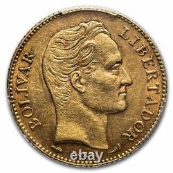 1910 Venezuela Gold 20 Bolivares Simon Bolivar Au-58 Pcgs Sku#236186
