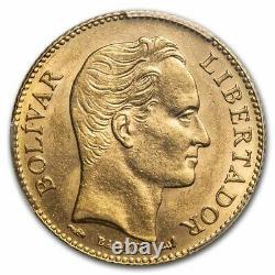 1911 Venezuela Gold 20 Bolivares Simon Bolivar Ms-62 Pcgs Sku#236184