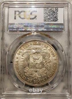 1921 Venezuela 5 Bolivares Gram 25 Pièces D'argent Au 53 Pcgs Classés