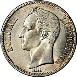 1921 Venezuela 5 Bolivares, Pcgs Au 58, Km Y-24.2, Date Étroite, Date Rare