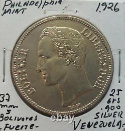 1926 Venezuela 5 Bolivariennes Gram 25 Pièces D'argent