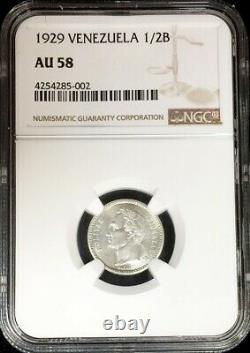 1929 Argent Venezuela 1/2 Bolivare Simon Bolivar Coin Ngc À Propos De Unc 58