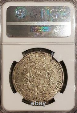 1929 Venezuela 5 Bolivares Gram 25 Pièces D'argent Au55 Ngc