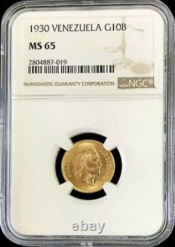1930 Or Venezuela 10 Bolivares High Grade Simon Bolivar Coin Ngc Mint State 65