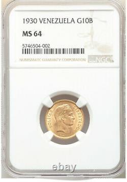 1930-p Venezuela Republic Or 10 Bolivares Ngc Ms64 Near Gem Lustrous