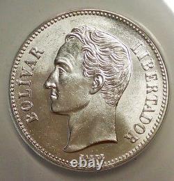 1935 2 Bolivares Gramme 10 Venezuela Pièce D'argent Ms 63 Graded Anacs