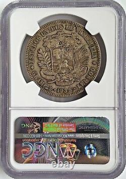 1935 Argent 5b Venezuela 5 Bolivares Ngc Au 55 À Propos D'unc Vintage Classic Coin