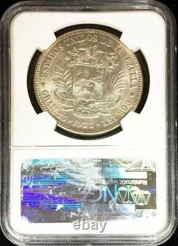 1935 Argent Venezuela 5 Bolivars Simon Bolivar Coin Ngc Mint État 64