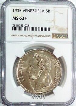 1935 Ms 63+ 5 Bolivares -fuerte-gram 25 Venezuela Pièce D'argent Graded Ngc