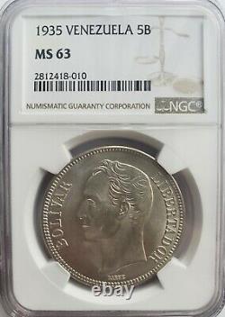 1935 Ms 63 5 Bolivares -fuerte-gram 25 Venezuela Pièce D'argent Graded Ngc
