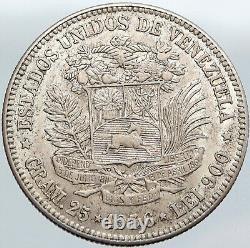 1936 Franc-maçon Président Simon Bolivar Venezuela Fondateur 5blv Silver Coin I87688