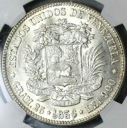 1936 Mbac Ms 63 Venezuela 5 Bolivares Argent 90% Monnaie D'état Monnaie 20111201c