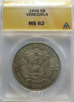 1936 Ms 62 5 Bolivars -fuerte-gram 25 Vénézuela Pièce D'argent Anacs Classés