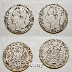 1936 Pièce D'argent (4 Pièces) Venezuela 5 Bolivares Fuerte (p5) Vf