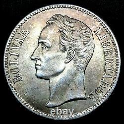 1936 Venezuela 5 Bolivares (25 Grammes). 900 Pièces De La Couronne D'argent Bu/ms Y#24.2 #1