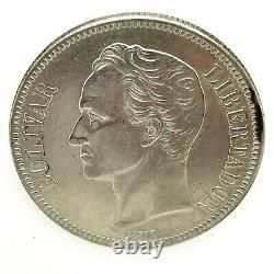 1936 Venezuela 5 Bolivares (25 Grammes). 900 Silver Crown Coin Bu/ms Y#24.2 #3