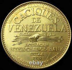 1955 Or Venezuela 22.2 Gram Naiguata 60 Bolivares Caciaux Coin