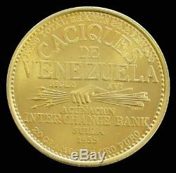 1955 Or Venezuela 22,2 Gram Paramaconi 60 Bolivars Caciques Coin