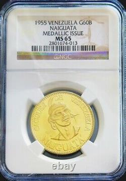 1955 Or Venezuela 22,2 Grammes Naiguata 60 Bolivares Caciques Coin Ngc Mme 65