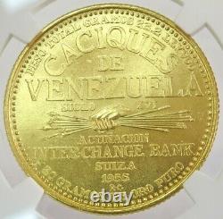 1955 Or Venezuela 22,2 Grammes Paramaconi 60 Bolivares Caciques Coin Ngc Mme 66