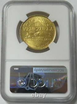 1955 Or Venezuela 22,2 Grammes Yaracuy 60 Bolivares Caciques Coin Ngc Mme 65