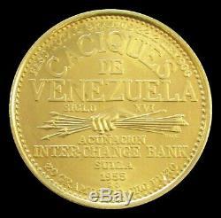 1955 Or Venezuela Caciques Yaracuy 60 Bolivars Coin 22,2 Gram
