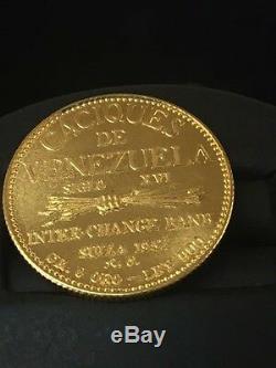 1957 Venezuela 20 Bolivars Chef Indien, Paramaconi 6gram 90% Gold Coin