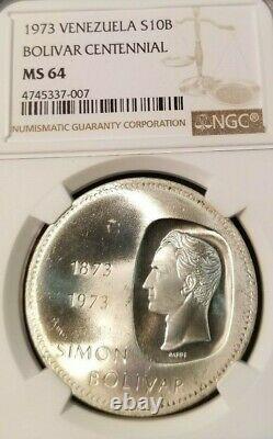 1973 Venezuela Argent 10 Bolivars Centenaire Bolivien Ngc Mme 64 Beautiful Coin