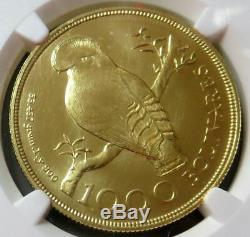 1975 Or Venezuela 1000 Bolivars Wwc Rocher Oiseau Ngc Mint État 66