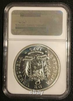 1975 Venezuela 50 Bolivares Argent Coin Géant Armadillo Faune Ngc Ms66