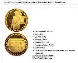 1983 Collectionnable 22k Proof Gold Coin Bicentenaire Naissance Simon Bolivar Venezuela
