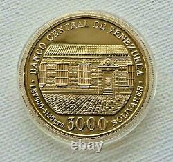 1983 Récoltable 22k Preuve Gold Coin Bicentenaire Naissance Simon Bolivar Venezuela
