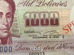 1991/92/98 Venezuela Notes Cinq (5) Spécimens Différents Dates 1000 Bolivares Unc