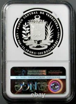 1997 Argent Venezuela 1oz Proof 500 Bolivares Bicentennial Proof 69 Ultra Cameo
