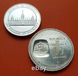 2 Monedas X Venezuela 10+100 Bolivares 1973+1986 Bolivar Y Vargas Sc Plata Unc