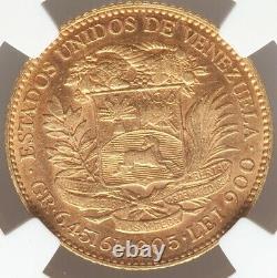 20 Bolivares Or Venezuela 1905 Ngc Au-55 Low Mintage