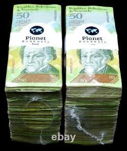 2007-2014 Venezuela 50 $ Bolivars 2 Briques Usagées 2000 Pcs Couleur Fraîche Sku5273 Rare