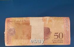 2018 Venezuela 50 Bolivares Brick 1000 Pcs. Bloc Unc Consécutif Mjt03