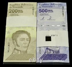 2020 Venezuela Bolivares Set 200 000 $ & 500 000 $ 2 Lots 200 Pcs Nouveau Unc Rare