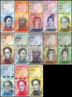 (25x) Venezuela Bolivares New Unc Lot 2-100000 (325 Pièces Pcs 25x Sets Complets)